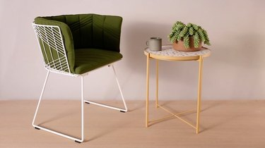 Terrazzo side table and chair with green cushion
