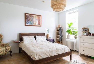 Bedroom with IKEA pendant light