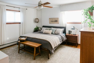 Bedroom with wood furniture