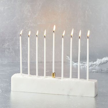 West Elm Marble and Brass Menorah, $59