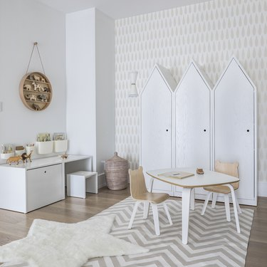 kids playroom idea with patterned wallpaper and white furniture