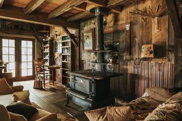 cabin interior with dark wood