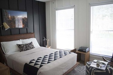 black and white teenage bedroom
