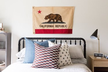 red white and blue teen bedroom