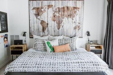 teen boy bedroom with map art