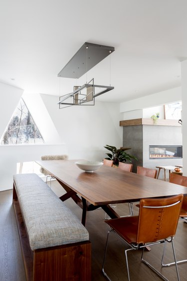 minimalist dining room with bench seating