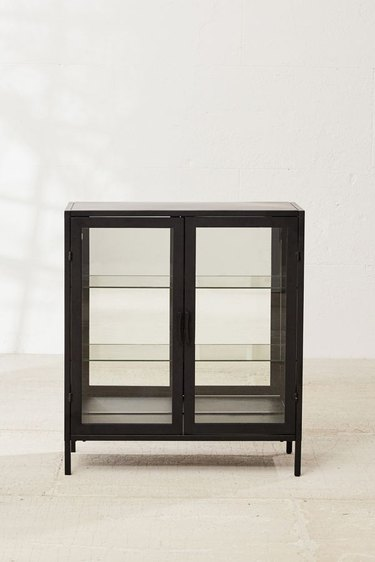 black mirrored cabinet