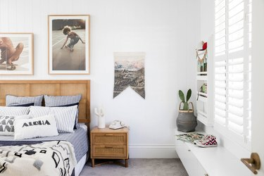 teen boy bedroom with cane furniture set