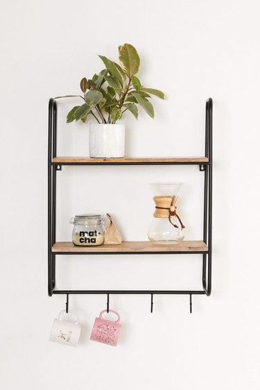 black and brown wall shelf