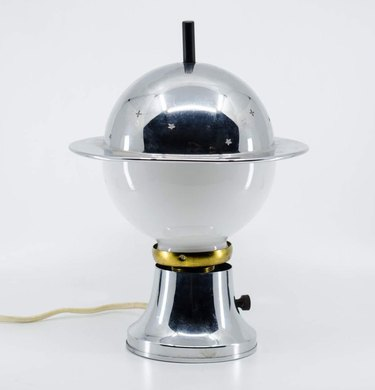 art deco style silver lamp