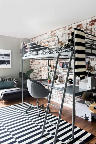 IKEA kids' room ideas with black and white striped details and lofted bed