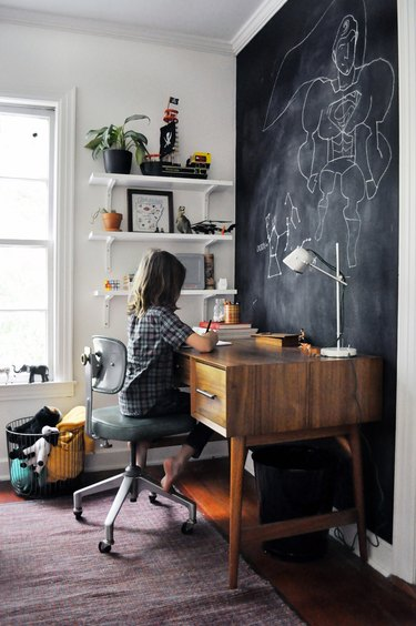 kids' bedroom idea with chalkboard wall and midcentury desk