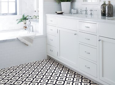 Peel-and-stick vinyl flooring in a bathroom