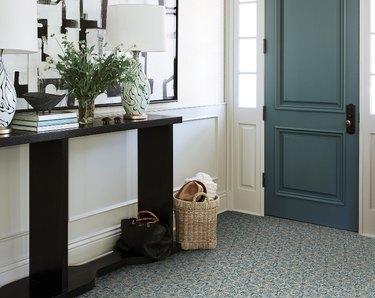 Peel-and-stick vinyl flooring in an entryway