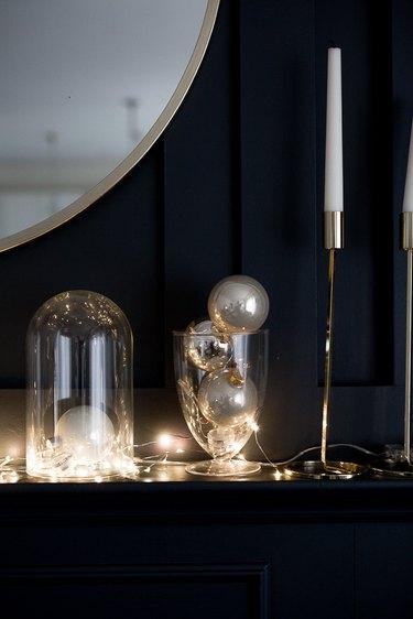 Glass vase with Christmas bulbs