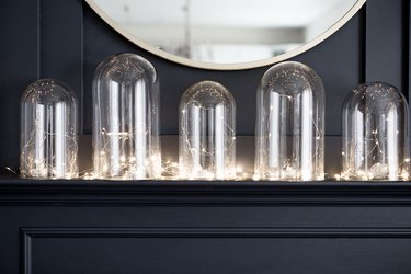Glass cloche with lights display