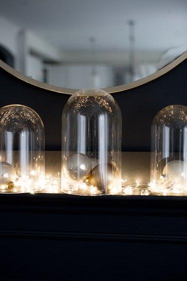 Christmas lights inside cloche