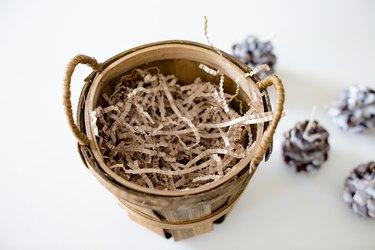 Shredded paper inside basket