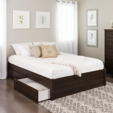 Prepac Post Platform Bed with Four Drawers