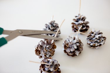 Cut excess wick off pine cones