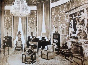 sepia photo of an art deco interior