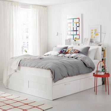 Ikea Brimnes Bedframe with Storage and Headboard
