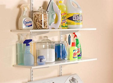 Shelving system with brackets and standardards.