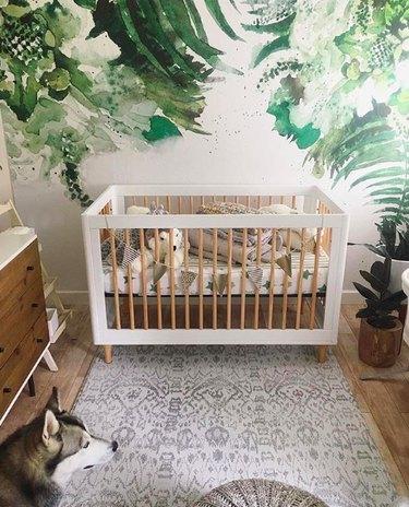 botanical wallpaper in nursery