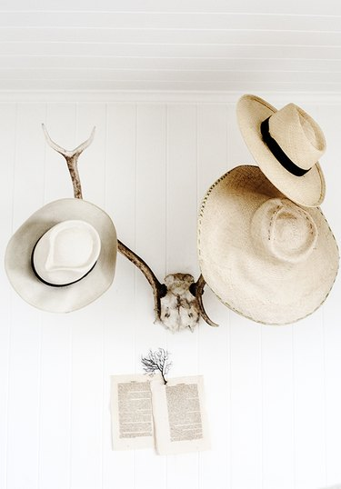 hats hung on faux antler taxidermy