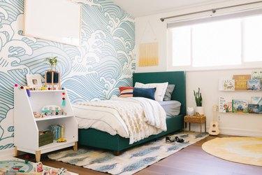 blue wave wallpaper in kids bedroom