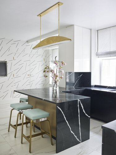 contemporary kitchen with confetti pattern wallpaper