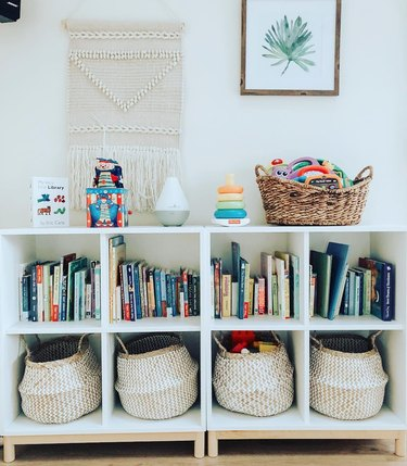 playroom storage idea with books in bookcase