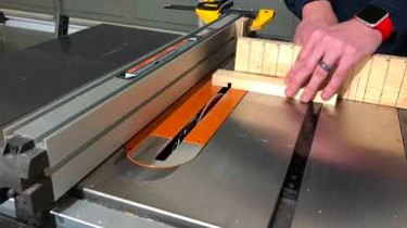 Crosscutting on a table saw.