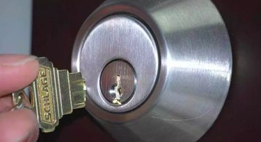 Broken key in lock.