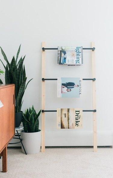 leaning ladder for magazine storage