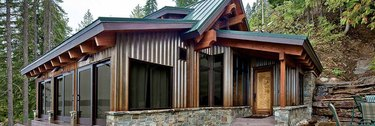 Cabin with corrugated steel siding