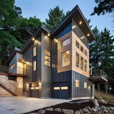 Steel-sided house