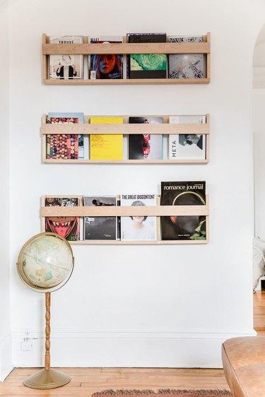 magazines stored on DIY shelves