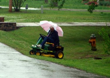 Mowing in the rain.