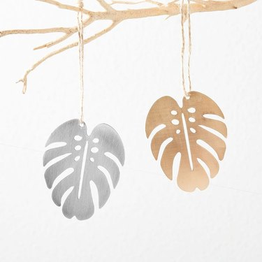 Pauline Stanley Studio Metal Monstera Leaf Ornament, $15