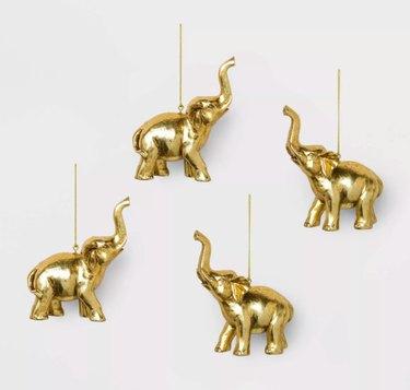 Target Gold Elephant Ornaments (set of 4), $12