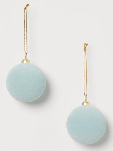 H&M Light Blue Velvet Ball Ornaments (set of 2), $6.99