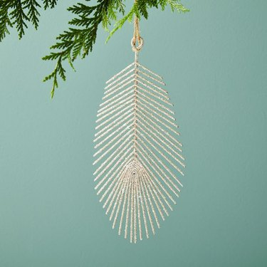West Elm Glitter Feather Ornament, $6