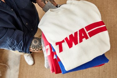 Sweaters on sale at the TWA Hotel gift shop.
