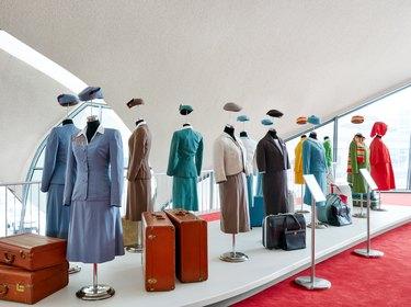 Exhibition of historic TWA flight attendant uniforms.