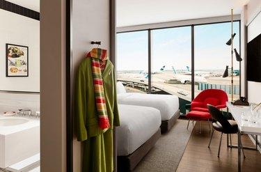 TWA guest room overlooking a runway at JFK Airport.