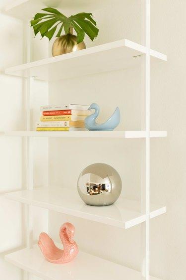 Open shelving in living room.