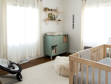 minimal Nursery idea with IKEA mint green dresser