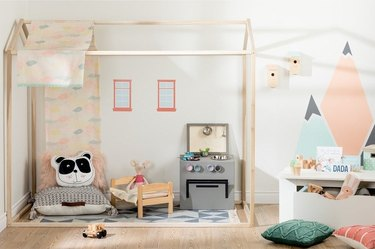 kids playroom idea with South Shore Sweedi Bed House Frame from Overstock