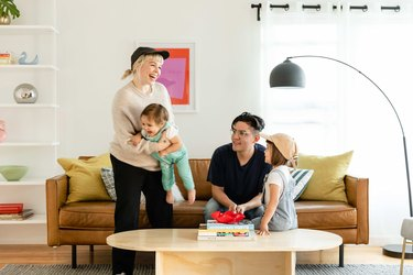 Bethany, Billie, Jorge and Zara in their bright living room.